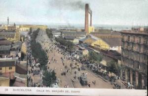 Carrer Marqués del Duero (ara Paral·lel) cap el 1900. Postal de http://patrimonioindu